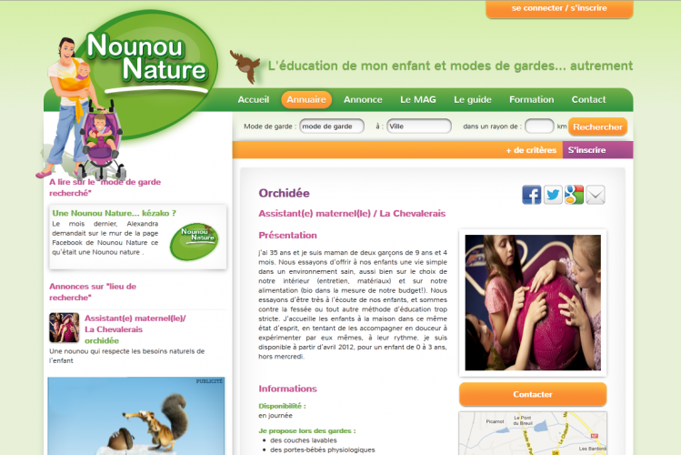 Nounou Nature website